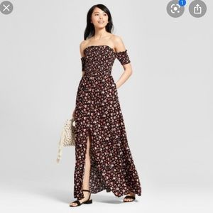 Xhileration Off the Shoulder Floral Smocked Maxi